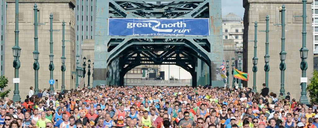 Runners going over the Tyne Bridge at the Great North Run