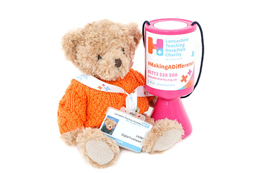Teddy Bear with a Lancashire Teaching Hospitals Charity Collection Box