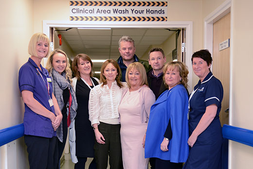 Staff with a patient and their family at the Royal Preston Hospital