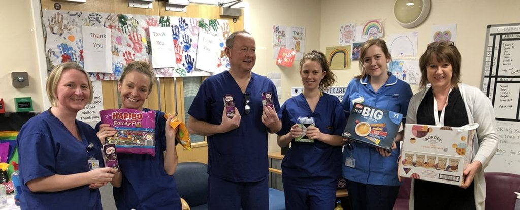 Staff at Royal Preston Hospital receiving treats for their wellbeing